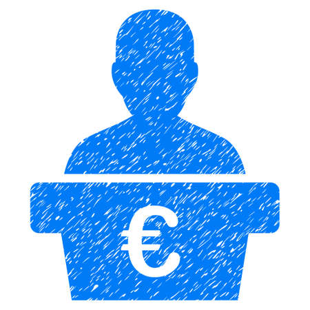 Grunge Euro Politician icon with grunge design and scratched texture. Unclean raster blue pictogram for rubber seal stamp imitations and watermarks. Draft sign symbol.