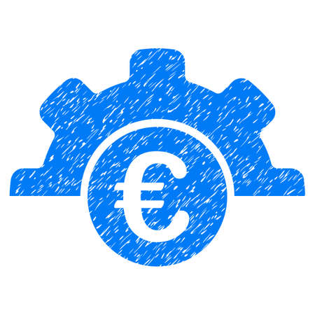 Grunge Euro Technology icon with grunge design and scratched texture. Unclean raster blue pictogram for rubber seal stamp imitations and watermarks. Draft emblem symbol.