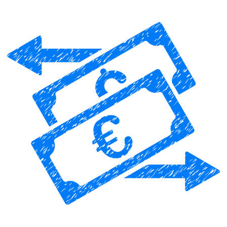 Grunge Banknotes Exchange icon with grunge design and unclean texture. Unclean raster blue pictogram for rubber seal stamp imitations and watermarks. Draft sign symbol.