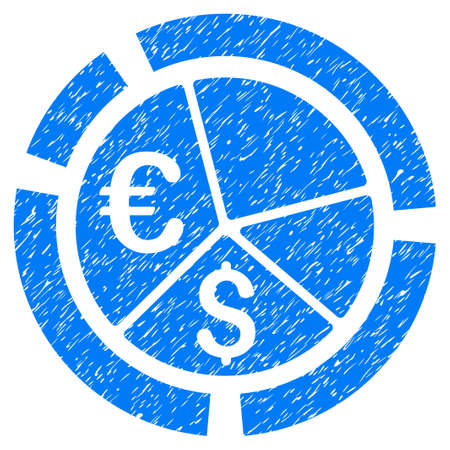 Grunge Currency Diagram icon with grunge design and dust texture. Unclean raster blue pictogram for rubber seal stamp imitations and watermarks. Draft sign symbol. Stock Photo