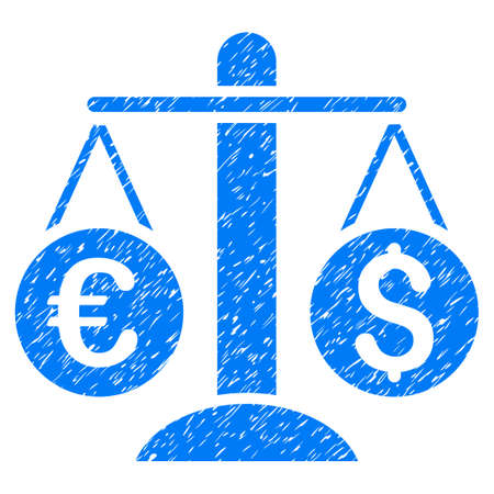 Grunge Currency Scales icon with grunge design and scratched texture. Unclean raster blue pictogram for rubber seal stamp imitations and watermarks. Draft sticker symbol. Stock Photo
