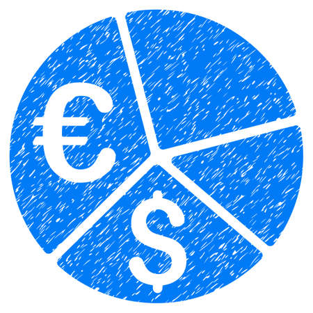 Grunge Euro And Dollar Pie Chart icon with grunge design and dust texture. Unclean raster blue pictogram for rubber seal stamp imitations and watermarks. Draft emblem symbol.