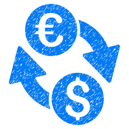 Grunge Euro Dollar Change icon with grunge design and dirty texture. Unclean raster blue pictogram for rubber seal stamp imitations and watermarks. Draft sticker symbol. Stock Photo