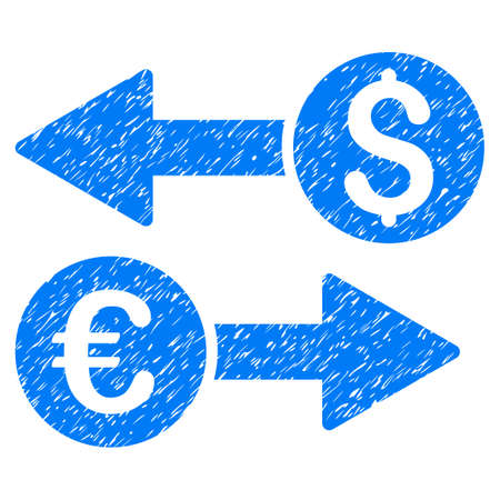 Grunge Currency Transfers icon with grunge design and unclean texture. Unclean vector blue pictogram for rubber seal stamp imitations and watermarks. Draft emblem symbol.
