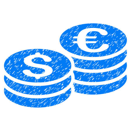 Grunge Dollar And Euro Coin Stacks icon with grunge design and unclean texture. Unclean vector blue pictogram for rubber seal stamp imitations and watermarks. Draft emblem symbol. Illustration