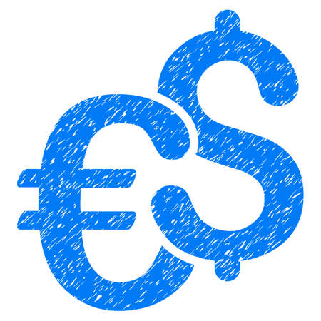 Grunge Dollar And Euro Symbols icon with grunge design and dust texture. Unclean vector blue pictogram for rubber seal stamp imitations and watermarks. Draft sticker symbol.