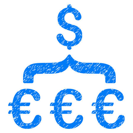 Grunge Euro Dollar Conversion Aggregator icon with grunge design and unclean texture. Unclean vector blue pictogram for rubber seal stamp imitations and watermarks. Draft emblem symbol.
