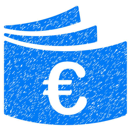 chequera: Grunge Euro Checkbook icon with grunge design and dirty texture. Unclean vector blue pictogram for rubber seal stamp imitations and watermarks. Draft emblem symbol.