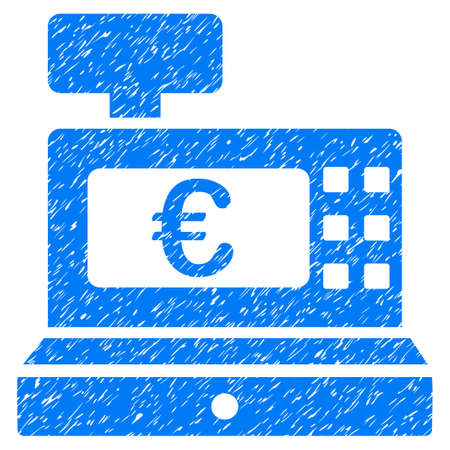 Grunge Euro Cashbox icon with grunge design and scratched texture. Unclean vector blue pictogram for rubber seal stamp imitations and watermarks. Draft emblem symbol.