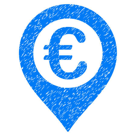 Grunge Euro Pushpin icon with grunge design and dust texture. Unclean raster blue pictogram for rubber seal stamp imitations and watermarks. Draft sticker symbol.