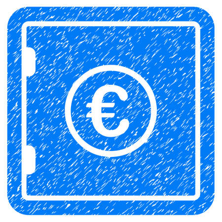 strongbox: Grunge Euro Safe icon with grunge design and dirty texture. Unclean vector blue pictogram for rubber seal stamp imitations and watermarks. Draft sticker symbol.