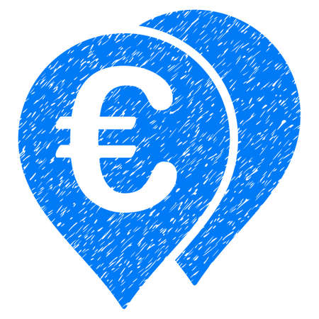 Grunge Euro Map Markers icon with grunge design and unclean texture. Unclean vector blue pictogram for rubber seal stamp imitations and watermarks. Draft sticker symbol.