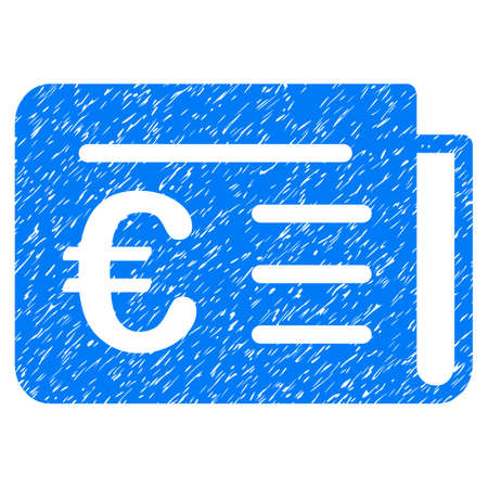 Grunge Euro Banking News icon with grunge design and dust texture. Unclean vector blue pictogram for rubber seal stamp imitations and watermarks. Draft emblem symbol. Illustration
