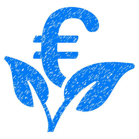 Grunge Euro Startup Sprout icon with grunge design and unclean texture. Unclean vector blue pictogram for rubber seal stamp imitations and watermarks. Draft emblem symbol.