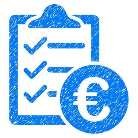 conventions: Grunge Euro Purchase Pad icon with grunge design and dust texture. Unclean vector blue pictogram for rubber seal stamp imitations and watermarks. Draft sign symbol.