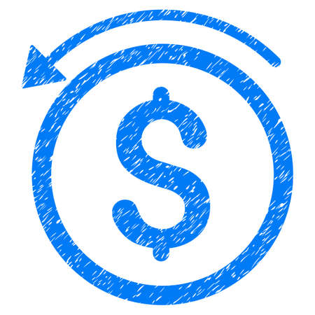 Grunge Refund icon with grunge design and dirty texture. Unclean raster blue pictogram for rubber seal stamp imitations and watermarks. Draft emblem symbol.