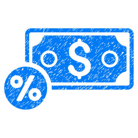 Grunge Banknote Percent icon with grunge design and dust texture. Unclean raster blue pictogram for rubber seal stamp imitations and watermarks. Draft sticker symbol. Stock Photo