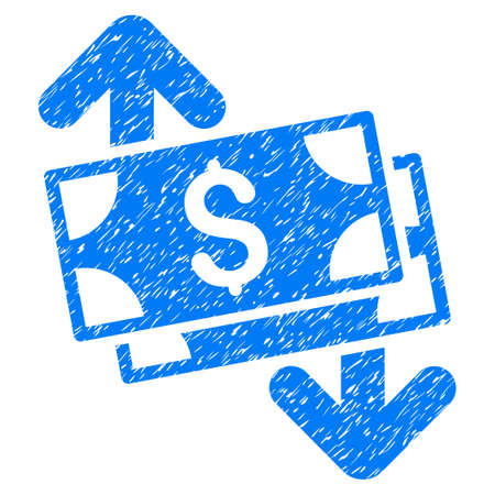 Grunge Banknotes Spending icon with grunge design and dirty texture. Unclean raster blue pictogram for rubber seal stamp imitations and watermarks. Draft sticker symbol.