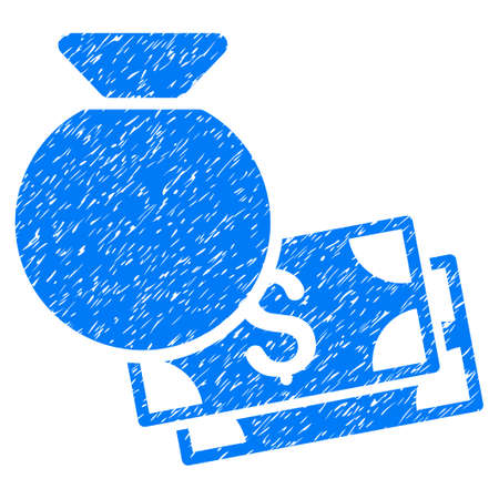 Grunge Money Bag icon with grunge design and unclean texture. Unclean raster blue pictogram for rubber seal stamp imitations and watermarks. Draft sign symbol.
