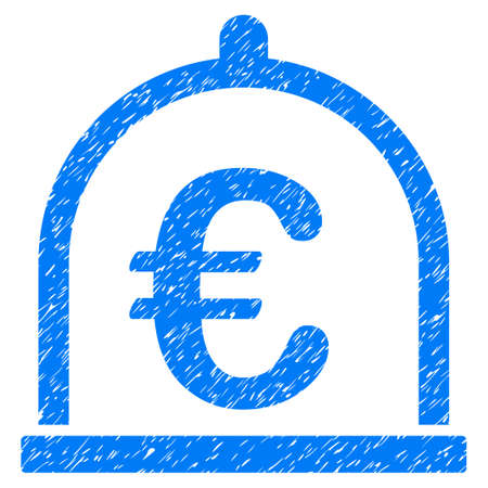 Grunge Euro Storage icon with grunge design and dirty texture. Unclean vector blue pictogram for rubber seal stamp imitations and watermarks. Draft sign symbol.