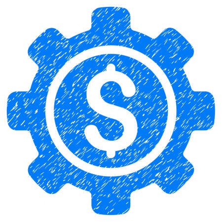 Grunge Financial Tools icon with grunge design and dirty texture. Unclean vector blue pictogram for rubber seal stamp imitations and watermarks. Draft sign symbol.