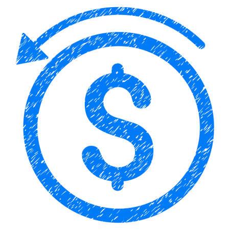 グランジ デザインやほこりテクスチャ グランジ払い戻しアイコン。汚れたベクトル青ゴム シール切手の模造品と透かしのピクトグラム。ドラフト