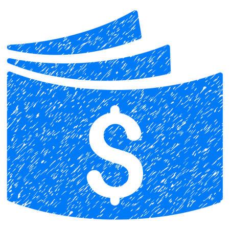 chequera: Grunge Checkbook icono con el diseño del grunge y la textura sucia. Pictograma azul impreciso de la trama para las imitaciones y las marcas de agua del sello de sello de goma. Símbolo de emblema de proyecto.