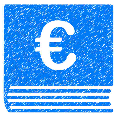 old notebook: Grunge Euro Sales Book icon with grunge design and unclean texture. Unclean raster blue pictogram for rubber seal stamp imitations and watermarks. Draft sticker symbol.