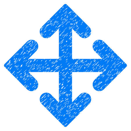 Grunge Direction Variants icon with grunge design and unclean texture. Unclean raster blue pictogram for rubber seal stamp imitations and watermarks. Draft sticker symbol.