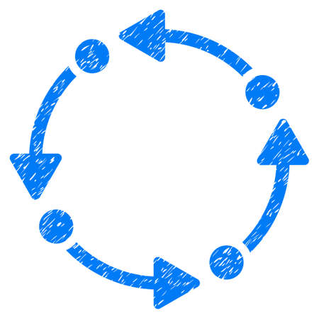 tetra: Grunge Rotate icon with grunge design and dirty texture. Unclean raster blue pictogram for rubber seal stamp imitations and watermarks. Draft sticker symbol.