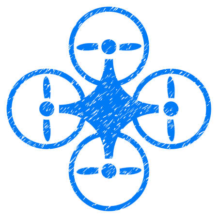 tetra: Grunge Air Copter icon with grunge design and dust texture. Unclean vector blue pictogram for rubber seal stamp imitations and watermarks. Draft emblem symbol.