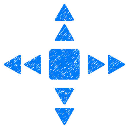 tetra: Grunge Direction Triangles icon with grunge design and dust texture. Unclean vector blue pictogram for rubber seal stamp imitations and watermarks. Draft emblem symbol. Illustration