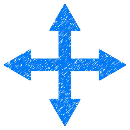 Grunge Quadro Arrows icon with grunge design and dust texture. Unclean raster blue pictogram for rubber seal stamp imitations and watermarks. Draft emblem symbol.