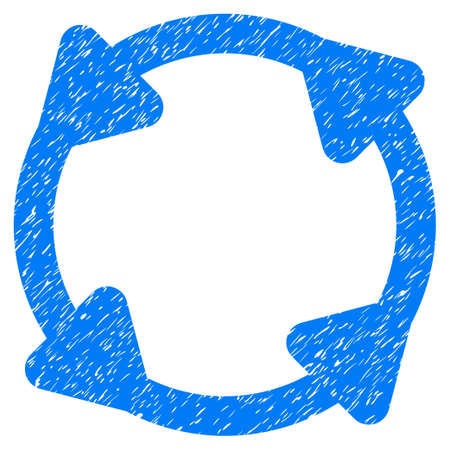 Grunge Rotate icon with grunge design and scratched texture. Unclean vector blue pictogram for rubber seal stamp imitations and watermarks. Draft sign symbol.