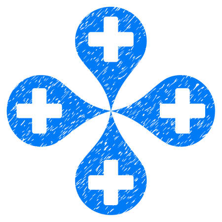 tetra: Grunge Hospital Map Markers icon with grunge design and dirty texture. Unclean vector blue pictogram for rubber seal stamp imitations and watermarks. Draft emblem symbol. Illustration