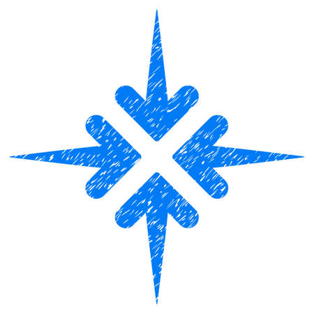 compress: Grunge Impact Arrows icon with grunge design and dust texture. Unclean vector blue pictogram for rubber seal stamp imitations and watermarks. Draft emblem symbol. Illustration
