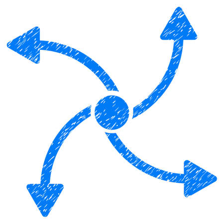 tetra: Grunge Swirl Direction icon with grunge design and scratched texture. Unclean vector blue pictogram for rubber seal stamp imitations and watermarks. Draft sign symbol.