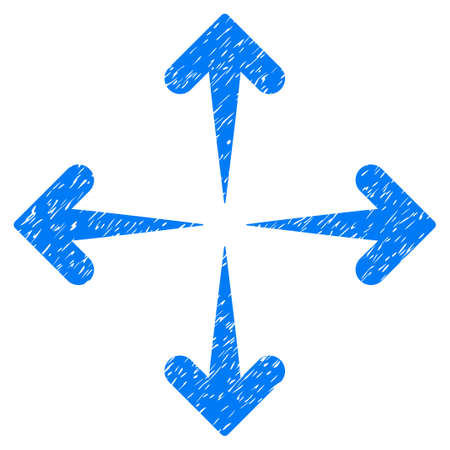 Grunge Expand Arrows icon with grunge design and dirty texture. Unclean vector blue pictogram for rubber seal stamp imitations and watermarks. Draft sticker symbol.