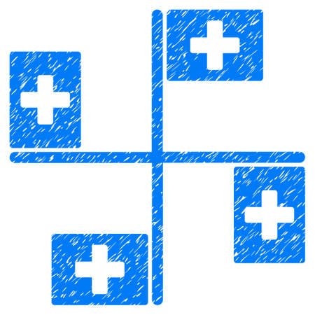 uniting: Grunge Hospital Flags icon with grunge design and scratched texture. Unclean vector blue pictogram for rubber seal stamp imitations and watermarks. Draft emblem symbol.