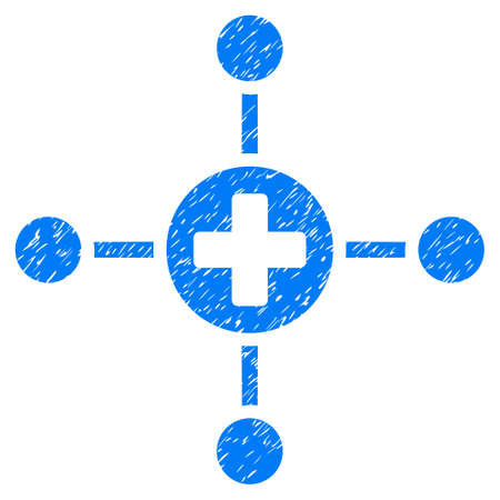 tetra: Grunge Medical Center icon with grunge design and dirty texture. Unclean vector blue pictogram for rubber seal stamp imitations and watermarks. Draft sticker symbol.