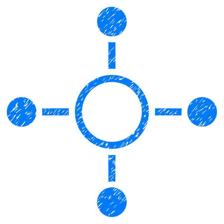 Grunge Radial Structure icon with grunge design and unclean texture. Unclean vector blue pictogram for rubber seal stamp imitations and watermarks. Draft sign symbol.