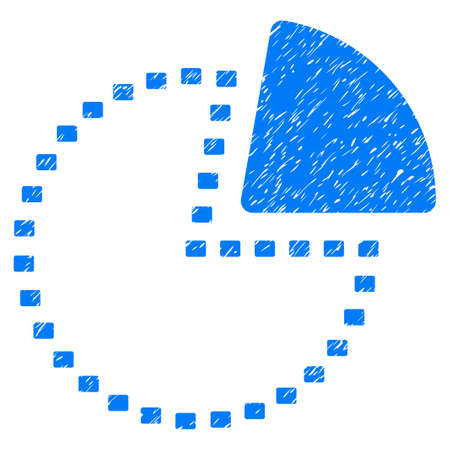 Grunge Dotted Pie Chart icon with grunge design and scratched texture. Unclean vector blue pictogram for rubber seal stamp imitations and watermarks. Draft sign symbol.