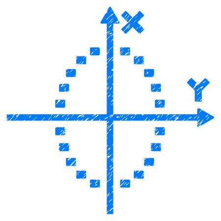 Grunge Dotted Ellipse Plot icon with grunge design and dirty texture. Unclean vector blue pictogram for rubber seal stamp imitations and watermarks. Draft sticker symbol.