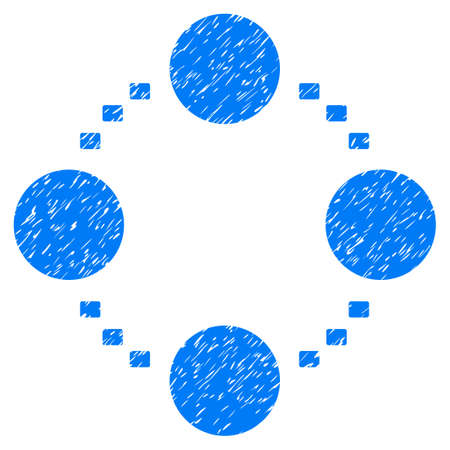 Grunge Circular Relations icon with grunge design and dust texture. Unclean raster blue pictogram for rubber seal stamp imitations and watermarks. Draft sticker symbol.