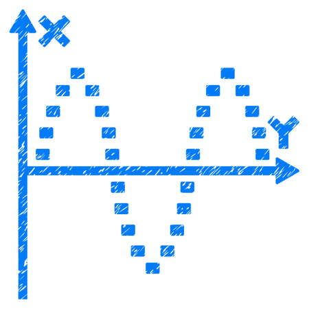 alternating current: Grunge Dotted Sinusoid Plot icon with grunge design and dust texture. Unclean raster blue pictogram for rubber seal stamp imitations and watermarks. Draft sign symbol.