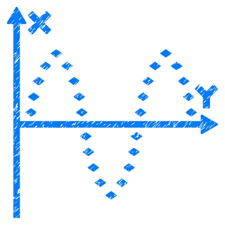 Grunge Dotted Sinusoid Plot icon with grunge design and dust texture. Unclean vector blue pictogram for rubber seal stamp imitations and watermarks. Draft emblem symbol.