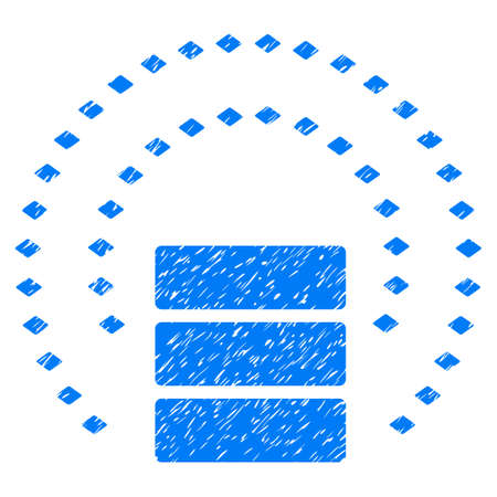 Grunge Database Sphere Shield icon with grunge design and scratched texture. Unclean raster blue pictogram for rubber seal stamp imitations and watermarks. Draft sign symbol.