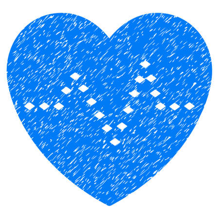 Grunge Dotted Heart Pulse icon with grunge design and dirty texture. Unclean raster blue pictogram for rubber seal stamp imitations and watermarks. Draft emblem symbol. Stock Photo