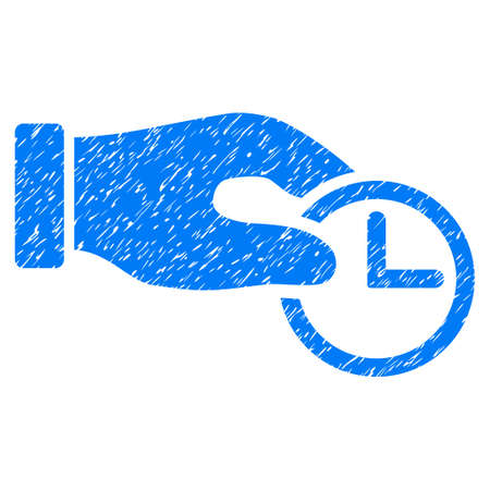 Grunge Clock Properties icon with grunge design and dirty texture. Unclean raster blue pictogram for rubber seal stamp imitations and watermarks. Draft sticker symbol. Stock Photo