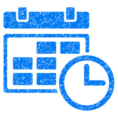 Grunge Date And Time icon with grunge design and unclean texture. Unclean raster blue pictogram for rubber seal stamp imitations and watermarks. Draft sticker symbol.